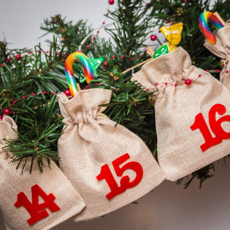 Advent calendar burlap bags 12 x 15 cm - bright natural + red numbers