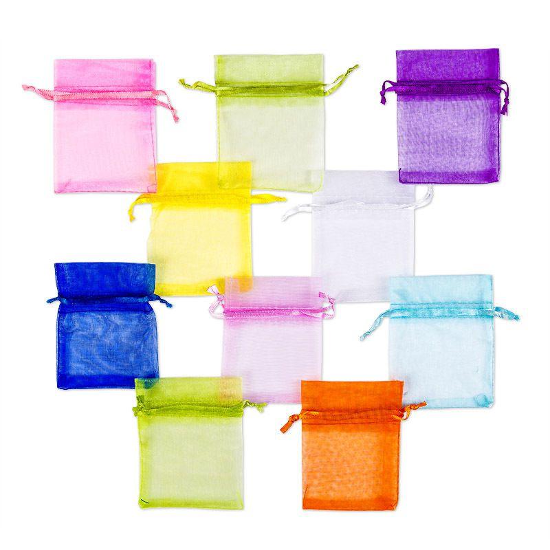 10 pc Organza bags, sized 7 x 9 cm - spring colour mix