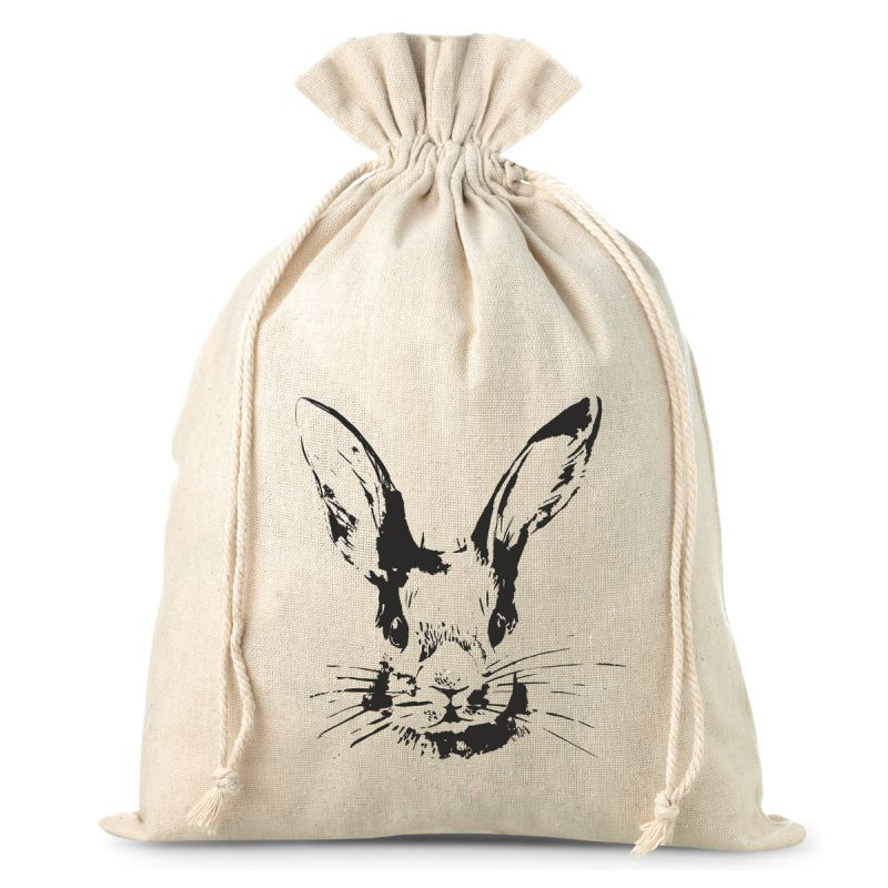 1 pc Linen bag, sized 26 x 35 cm, featuring a bunny print