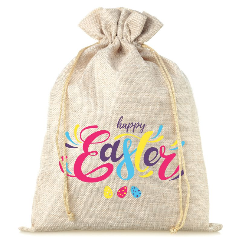 """1 pc jute bag, sized 30 x 40 cm, printed with the text """"Happy Easter"""""""