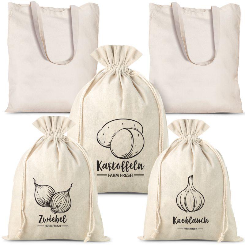Set of linen vegetable bags (3pcs) and cotton shopping bags (2pcs)
