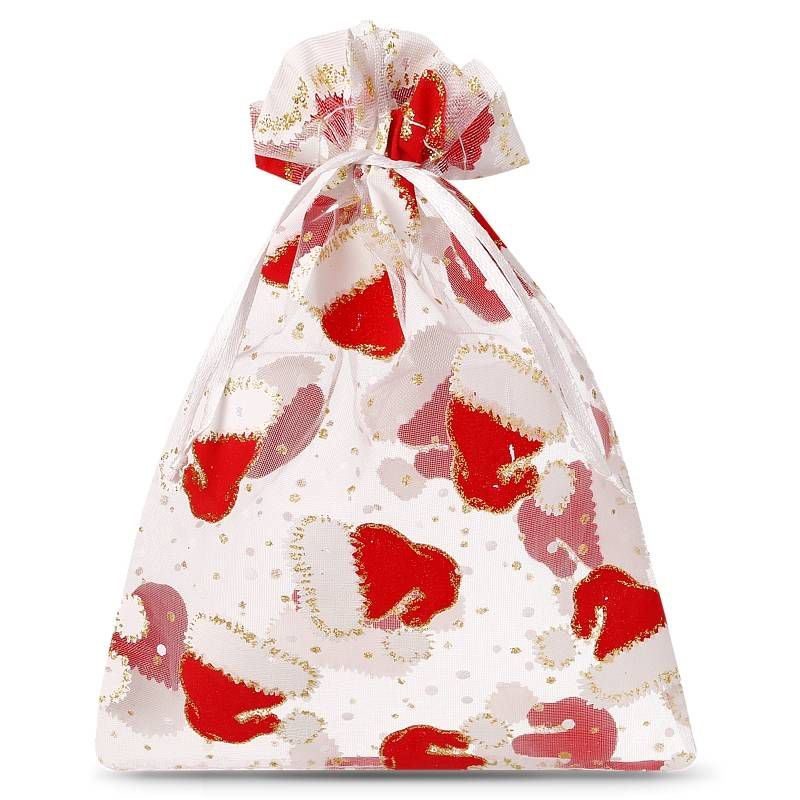 10 pcs Organza bags 10 x 13 cm - Christmas
