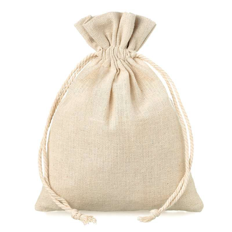 10 pcs Linen bag 12 cm x 15 cm - natural