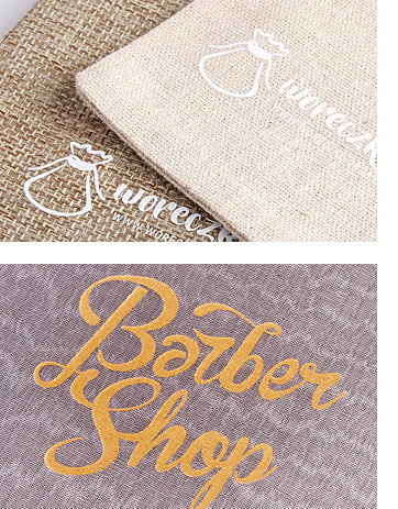 Linen pouch with print, bags with logo